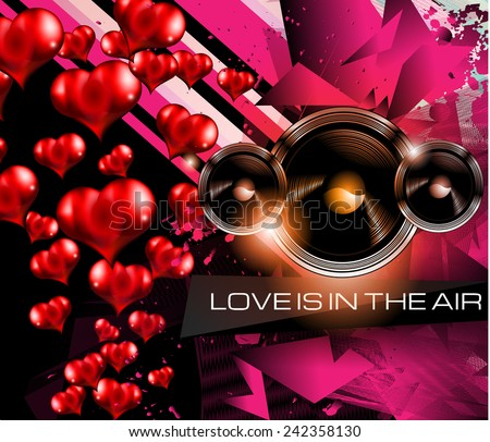 Happy Valentine's Day background with lovely Hearts. Ideal for brochure, invitation cards, dinnev menu covers, advertisment and poster. - stock photo