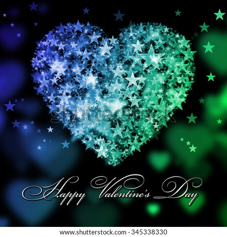 Happy Valentine's Day. Blue and green heart with the stars - stock photo