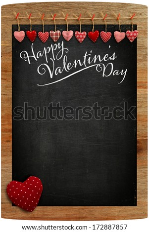 Happy Valentine's Day Chalkboard with Love message and red Heart in corner, copy space for love message