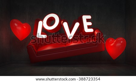 Happy Valentine's Day Concept. LOVE near the wall. 3D Rendering - stock photo
