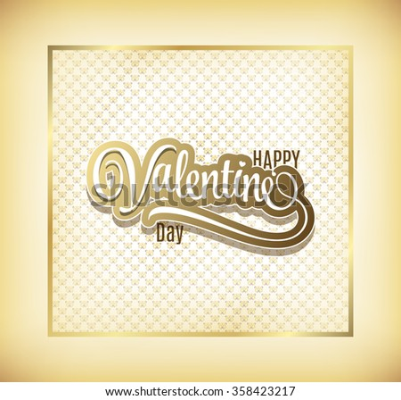 Happy Valentine's Day Gold Hand Lettering - Typographical Background