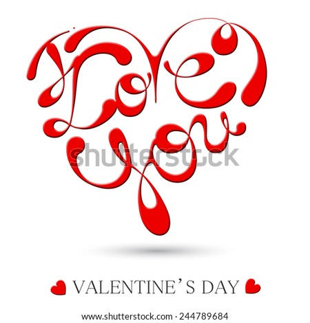HAPPY VALENTINE'S DAY hand lettering - stock photo