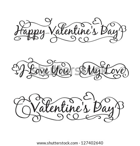 Happy valentine's day hand lettering. Scalable and editable Illustration. - stock photo