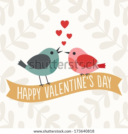 Happy Valentine's Day illustration with two cute love birds sitting on a gold ribbon banner. Great for wedding, engagement, poster, menu, party invitation, social media, web banner. - stock photo