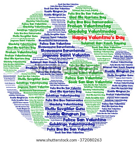 Happy Valentines Day Different Languages Word Stock Illustration - Languages on earth