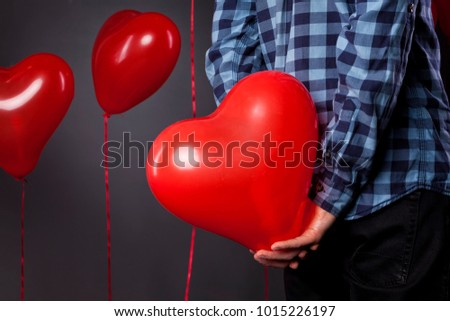 Happy Valentine`s day. Read hart balloons