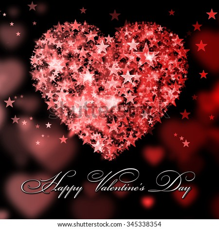 Happy Valentine's Day. Red heart with the stars - stock photo