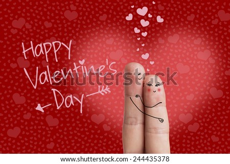 Happy Valentine's Day theme series. Lovers is embracing and holding heart. Stock Image There are 3 path included in image. You can easily cut out fingers and hearts over fingers from the background.  - stock photo