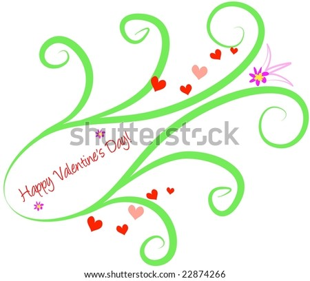 Happy Valentine's Design with Swirls and Hearts