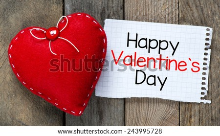 Happy Valentines day and heart. Card with Happy Valentines day and heart on wooden background - stock photo
