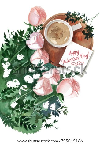 Happy valentines day beautiful morning gift stock illustration happy valentines day beautiful morning gift card lettering negle Choice Image