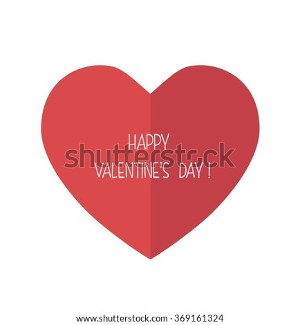Happy valentines day card. Big red heart  - stock photo