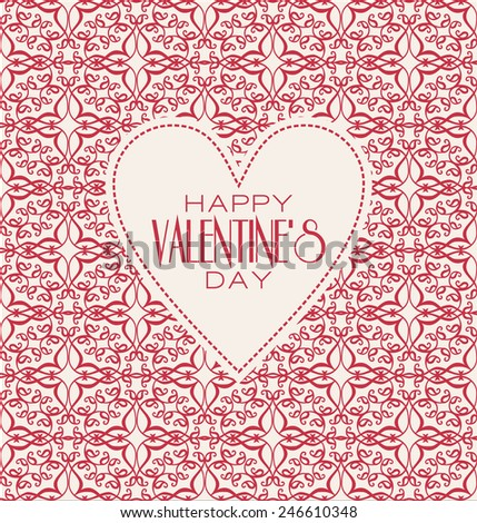 Happy valentines day cards with ornaments. Line graphic design templates - decorative backgrounds with simple patterns. - stock photo