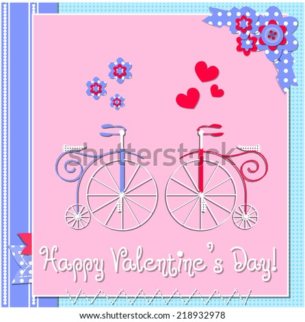 Happy valentines day cards with two bicycles, hearts, flowers and ribbons. Raster version. - stock photo
