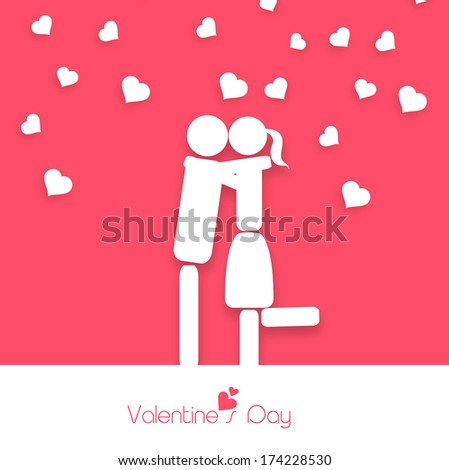 Happy Valentines Day celebration greeting card design with white silhouette of young couple in love on pink and white background.