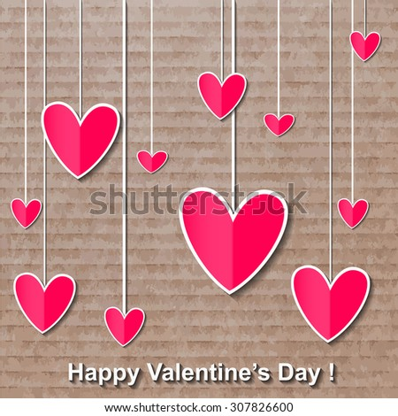 happy valentines day colourful card. illustration. - stock photo