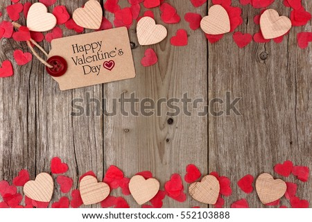 Happy Valentines Day gift tag with scattered wooden hearts and confetti double border on a rustic wood background