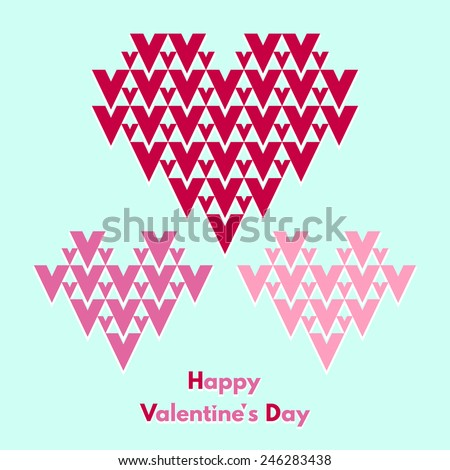 Happy Valentines Day greeting card. Abstract geometrical hearts with lettering. Conceptual, minimalist. Raster version. - stock photo