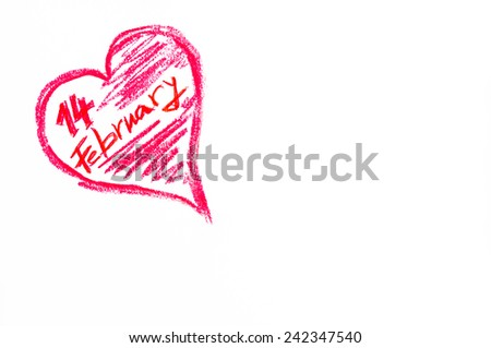 Happy Valentines Day greeting card, Conceptual image of love.Vintage hand writing with red letters on paper, isolated on white background, love concept, copy space available - stock photo