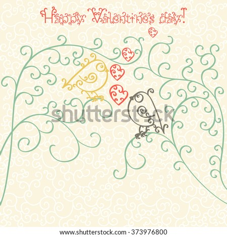 Happy Valentines Day. Greeting card or invitation. Concept. Monochrome black outline pattern with birds of curls Isolated on white background. Rasterized version. - stock photo