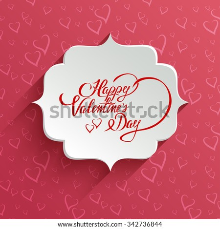 Happy Valentines Day Hand lettering Greeting Card on 3d Banner with Shadow over Seamless Pattern with Stylized Hearts. Typographical Background - stock photo