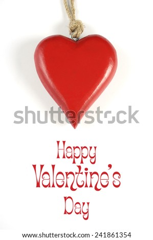 Happy Valentines Day hanging red wood heart with Happy Valentines Day sample text greeting message. - stock photo
