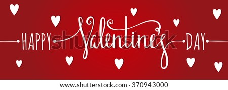 Happy Valentines day inscription on red background with white hearts. Design element for Valentine day card, banner, wedding invitation, postcard. Raster copy of vector file. - stock photo