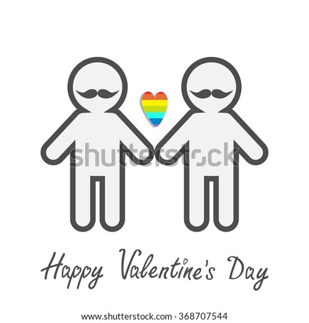 Happy Valentines Day. Love card. Gay marriage Pride symbol Two contour man with mustaches LGBT icon Rainbow heart Flat design.  - stock photo