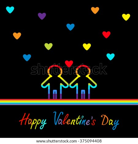 Happy Valentines Day. Love card. Gay marriage Pride symbol Two contour rainbow line man LGBT icon. Hearts. Flat design.  - stock photo