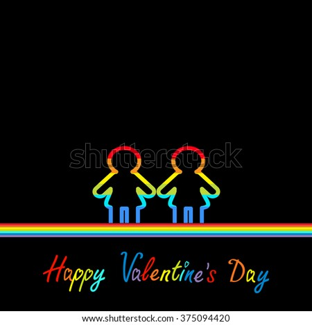 Happy Valentines Day. Love card. Gay marriage Pride symbol Two contour rainbow line woman LGBT icon. Flat design. Black background.  - stock photo