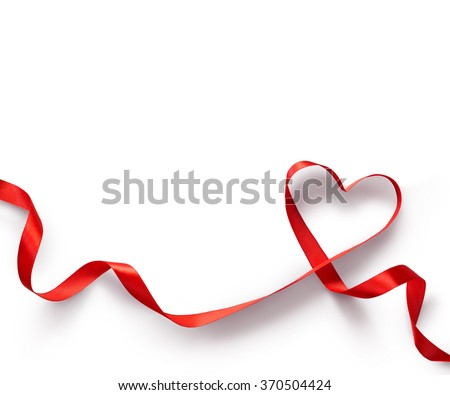 Happy Valentines Day. Red Ribbon Heart on white background. Valentines Day concept - stock photo