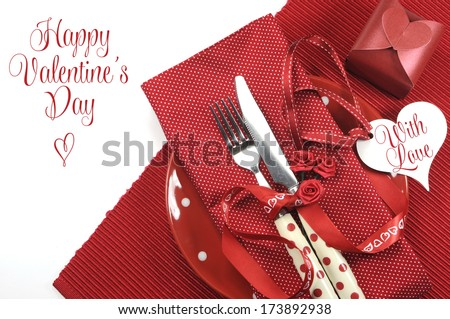 Happy Valentines Day red theme dining table place setting with greeting message or copy space for your text here. - stock photo