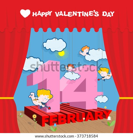 Happy Valentines day. Stage and Red Curtain. Theatrical staging and scenery. Volume letters. Cupid and clouds. Decorative paper flowers. Illustration for February 14 Valentine's day.