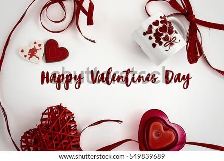 Happy Valentines Day Text Frame Stylish Stock Photo (Royalty Free ...