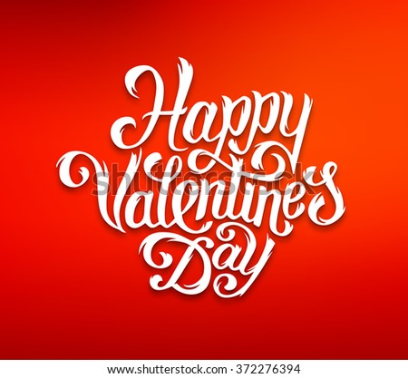 Happy Valentines Day typography text on red background for print or web banner. Hand drawn lettering inscription for 14 february greeting card decoration - stock photo