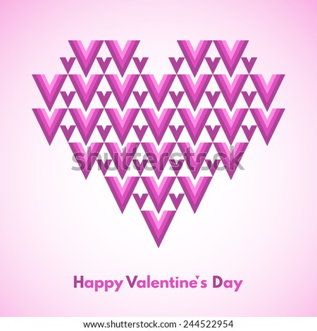 Happy Valentines Day vector greeting card. Abstract geometrical heart with lettering. Conceptual, minimalist. Raster version. - stock photo