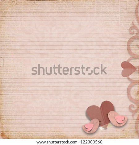 Happy Valentines Day. Vintage background with space for text or photo - stock photo