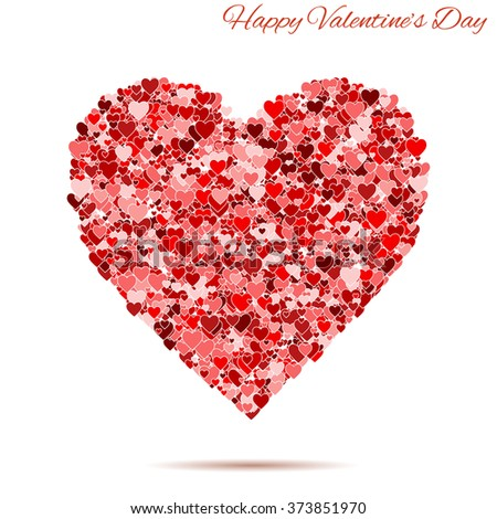 Happy Valentines day vintage red heart with hearts. template for greeting and postal card. background illustration Raster version. - stock photo