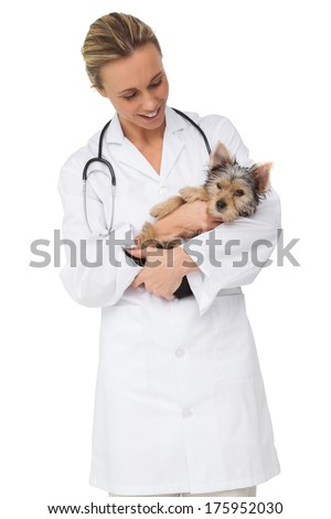 Happy vet holding yorkshire terrier puppy on white background