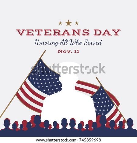 Happy veterans day greeting card usa stock illustration 745465873 happy veterans day greeting card with usa flag and soldier on background national american m4hsunfo Image collections
