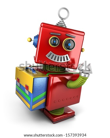 Happy vintage toy robot with satchel waving over white background - stock photo