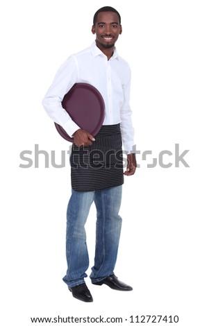 Happy waiter isolated on white background - stock photo