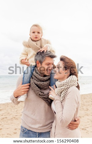 happy walking family enjoying season  - stock photo