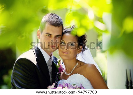 happy wedding couple - stock photo
