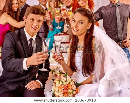 Happy wedding couple and guests drinking champagne.