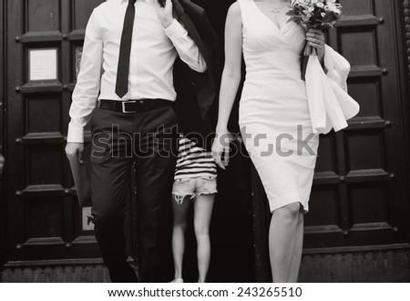 Happy wedding couple outdoors. - stock photo