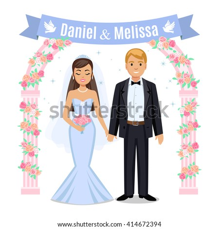 Happy wedding couple. Wedding couple and floral frame. Bride and groom on their wedding day. Cute cartoon couple - stock photo