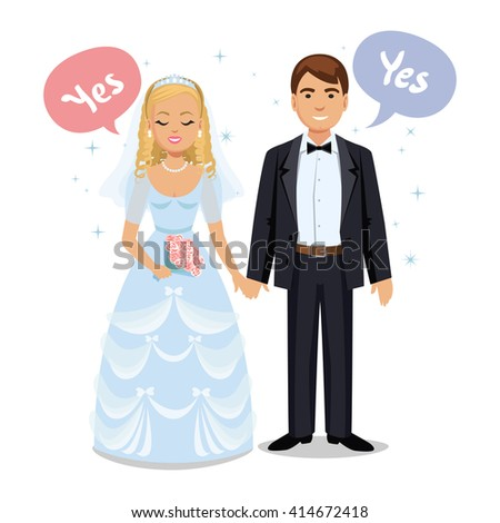 Happy wedding couple. Wedding couple say Yes. Bride and groom on their wedding day. Cute cartoon couple - stock photo