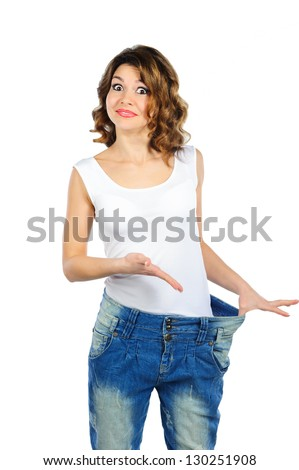 Happy weight loss woman with isolated on white background - stock photo