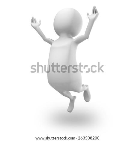 Happy White 3d Man Jumping Up. Succecss Concept 3d Render Illustration - stock photo